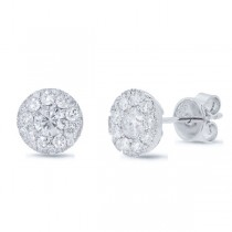 0.33ct Round Brilliant Center And 0.34ct Side 14k White Gold Diamond Stud Earrings