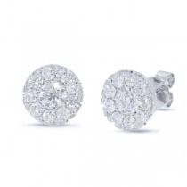 0.82ct Round Brilliant Center And 0.85ct Side 14k White Gold Diamond Stud Earrings