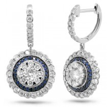 1.46ct Diamond & 0.20ct Blue Sapphire 14k White Gold Earrings