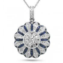 0.81ct Diamond & 0.26ct Blue Sapphire 14k White Gold Pendant Necklace