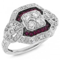 0.62ct Diamond & 0.15ct Ruby 14k White Gold Ring