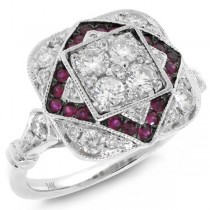 0.75ct Diamond & 0.21ct Ruby 14k White Gold Ring