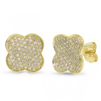0.53ct 14k Yellow Gold Diamond Pave Clover Earrings