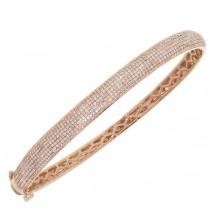 1.54ct 14k Rose Gold Diamond Pave Bangle