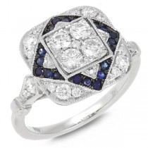 0.75ct Diamond & 0.24ct Blue Sapphire 14k White Gold Ring