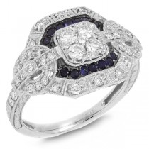 0.62ct Diamond & 0.17ct Blue Sapphire 14k White Gold Ring
