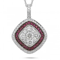 0.81ct Diamond & 0.21ct Ruby 14k White Gold Pendant Necklace