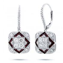 1.11ct Diamond & 0.22ct Ruby 14k White Gold Earrings
