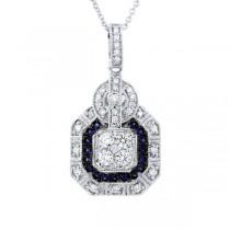 0.48ct Diamond & 0.16ct Blue Sapphire 14k White Gold Pendant Necklace