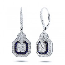 0.72ct Diamond & 0.22ct Blue Sapphire 14k White Gold Earrings