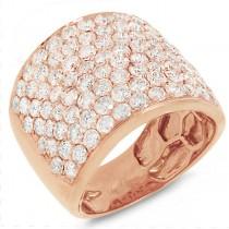 3.75ct 14k Rose Gold Diamond Pave Lady's Ring