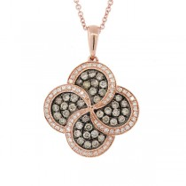 0.77ct 14k Rose Gold White & Champagne Diamond Pendant Necklace