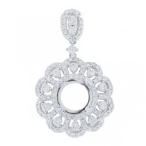 2.37ct 18k White Gold Diamond Semi-mount Pendant Necklace