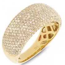 0.87ct 14k Yellow Gold Diamond Pave Lady's Ring