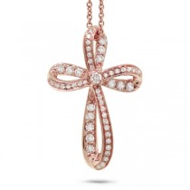 0.23ct 14k Rose Gold Diamond Cross Pendant Necklace