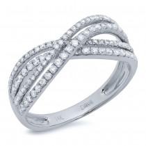 0.48ct 14k White Gold Diamond Bridge Ring Size 5