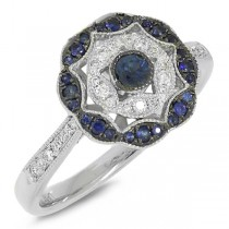 0.12ct Diamond & 0.27ct Blue Sapphire 14k White Gold Ring