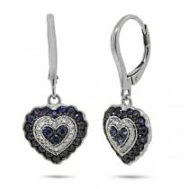 0.13ct Diamond & 0.93ct Blue Sapphire 14k White Gold Heart Earrings