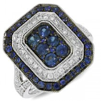 0.41ct Diamond & 1.08ct Blue Sapphire 14k White Gold Ring