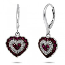 0.13ct Diamond & 0.93ct Ruby 14k White Gold Heart Earrings