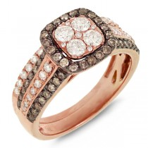 1.05ct 14k Rose Gold White & Champagne Diamond Ring 2-pc