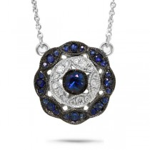 0.17ct Diamond & 0.26ct Blue Sapphire 14k White Gold Necklace