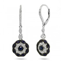 0.29ct Diamond & 0.51ct Blue Sapphire 14k White Gold Earrings
