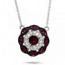 0.17ct Diamond & 0.29ct Ruby 14k White Gold Necklace