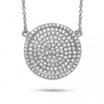 0.47ct 14k White Gold Diamond Pave Circle Necklace