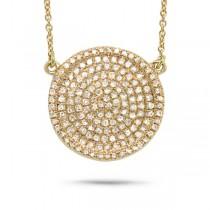 0.47ct 14k Yellow Gold Diamond Pave Circle Necklace