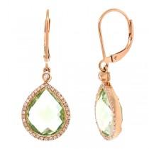 0.25ct Diamond & 9.37ct Green Amethyst 14k Rose Gold Earrings