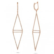 0.98ct 14k Rose Gold Diamond Triangle Earrings