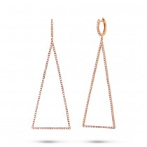 0.81ct 14k Rose Gold Diamond Triangle Earrings