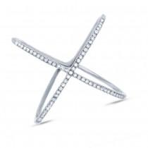 0.18ct 14k White Gold Diamond Lady's ''X'' Ring