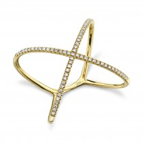 0.18ct 14k Yellow Gold Diamond Lady's ''X'' Ring