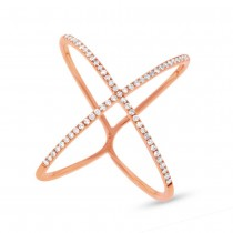 0.18ct 14k Rose Gold Diamond Lady's ''X'' Ring Size 8