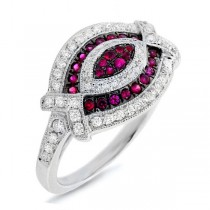 0.38ct Diamond & 0.27ct Ruby 14k White Gold Ring