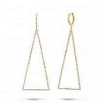 0.81ct 14k Yellow Gold Diamond Triangle Earrings