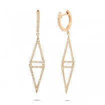 0.49ct 14k Yellow Gold Diamond Triangle Earrings