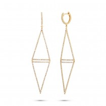 0.89ct 14k Yellow Gold Diamond Triangle Earrings