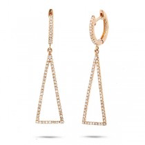0.43ct 14k Yellow Gold Diamond Triangle Earrings