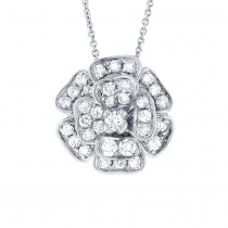 0.84ct 14k White Gold Diamond Flower Pendant Necklace