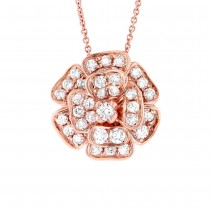 0.84ct 14k Rose Gold Diamond Flower Pendant Necklace