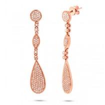 0.60ct 14k Rose Gold Diamond Pave Earrings