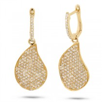0.83ct 14k Yellow Gold Diamond Pave Earrings