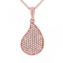 0.36ct 14k Rose Gold Diamond Pave Pendant Necklace