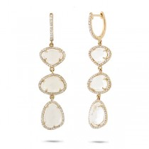0.72ct Diamond & 8.14ct White Topaz 14k Yellow Gold Earrings