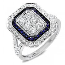 1.10ct Diamond & 0.20ct Blue Sapphire 14k White Gold Ring