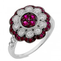 0.55ct Diamond & 0.58ct Ruby 14k White Gold Ring