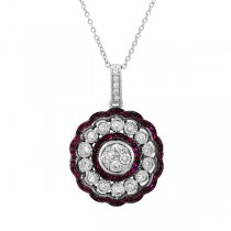 0.66ct Diamond & 0.44ct Ruby 14k White Gold Pendant Necklace